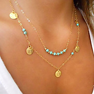 Women's Turquoise Pendant Necklace Double Floating Cheap Ladies Personalized Basic Double-layer Gold Plated Turquoise Alloy Silver Golden Necklace Jewelry For Wedding Party Daily Casual Sports