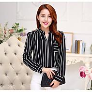 Women's Daily Shirt - Striped Shirt Collar White / Fine Stripe