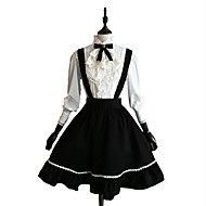 Classic Lolita Dress Blouse / Shirt Women's Girls' Cotton Japanese Cosplay Costumes Black Solid Colored Long Sleeve Knee Length