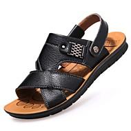 ราคาถูก -สำหรับผู้ชาย รองเท้าสบาย ๆ หนังสัตว์ ฤดูใบไม้ผลิ / ฤดูร้อน รองเท้าแตะ วสำหรับเดิน สีดำ / สีน้ำตาล / สีกากี / ที่มา / หมุดย้ำ / กลางแจ้ง