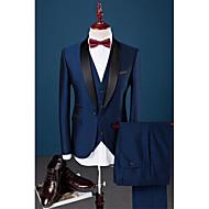 billiga -Marinblå Enfärgad Smal passform Elastan / Bomull / Polyester Kostym - Sjal Singelknäppt 1 Knapp / kostymer