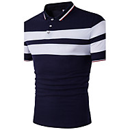 Men's Daily Weekend Active Plus Size Cotton Slim Polo - Striped Black & White Shirt Collar White / Short Sleeve / Summer