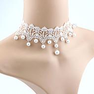 Pentru femei Perle Franjuri Coliere Choker - Imitație de Perle, Dantelă femei, Ciucure, Modă, Euramerican Alb Coliere Bijuterii Pentru Nuntă, Mascaradă, Petrecere Logodnă, Bal