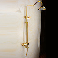 Shower Faucet - Antique Ti-PVD Tub And Shower Ceramic Valve Bath Shower Mixer Taps / Brass / Two Handles Two Holes
