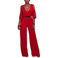 Women's Wide Leg Cut Out Daily / Club / Weekend Deep V Blue Red Green Wide Leg Jumpsuit Onesie, Solid Colored / Hollow / Fashion S M L High Rise Half Sleeve Spring Summer