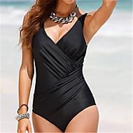 Women's Plus Size Strap Green White Black Wrap Briefs One-piece Swimwear - Solid Colored XXXL XXXXL XXXXXL Green