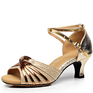 Women's Dance Shoes Leatherette Latin Shoes Buckle Sandal Chunky Heel Non Customizable Gold / Black / Silver