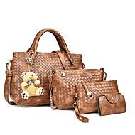 Women's PU Bag Set Bag Sets Solid Colored 4 Pieces Purse Set Black / Brown / White