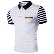 Men's Daily Active Plus Size Cotton Slim Polo - Striped Shirt Collar White / Short Sleeve / Summer