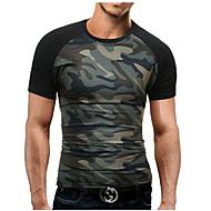Hombre Militar Deportes Tallas Grandes Estampado - Algodón Camiseta, Escote Redondo Delgado camuflaje / Manga Corta / Verano