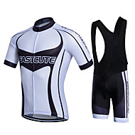 Fastcute Men's Cycling Jersey with Bib Shorts Silicon Polyester White Bike Shorts Bib Shorts Jacket Sports Clothing Apparel / Quick Dry / Stretchy / Clothing Suit