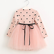 Toddler Girls' Dot Polka Dot Long Sleeve Dress Blushing Pink / Cotton