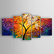 Hang målad oljemålning HANDMÅLAD - Abstrakt Abstrakt Inkludera innerram / Fem paneler / Sträckt kanfas