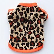 Pisici Câine Haine Tricou Hanorca Iarnă Îmbrăcăminte Câini Negru Leopard Costume Bebeluș Caine mic Lână polară Leopard Petrecere Casul / Zilnic Keep Warm XS S M L