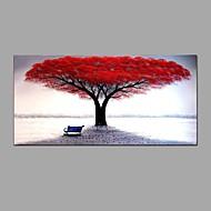 Hang-Painted Oliemaleri Hånd malede - Blomstret / Botanisk Abstrakt Omfatter indre ramme / Stretched Canvas