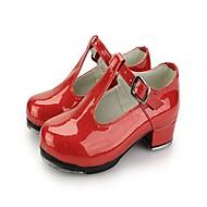 Women's Dance Shoes Faux Leather Tap Shoes Satin Flower Heel Low Heel Black / Light Red / Practice
