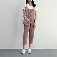 Women's High Waist Inelastic Overalls Pants,Simple Relaxed Solid