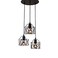 3-Head Vintage Black Metal Cage Shade Pendant Lights Living Room Dining Room Light Fixture