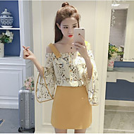 Women's Other Daily Casual Sweet Summer T-shirt Skirt Suits,Solid Floral Boat Neck 3/4 Length Sleeve Micro-elastic