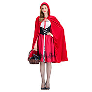 Little Red Riding Hood Dress Cosplay Costume Cloak Masquerade Cape Adults' Women's Christmas Halloween Carnival Festival / Holiday Elastane Tactel Red Female Carnival Costumes Vintage