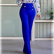 abordables -Mujer Chic de Calle Tallas Grandes Diario Trabajo Ajustado a la Bota Chinos Pantalones Un Color Color puro Blanco Negro Azul Piscina S M L