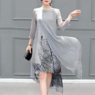 Χαμηλού Κόστους -Γυναικεία Φορέματα σιφόν Φόρεμα μέχρι το γόνατο - 3/4 Μήκος Μανικιού Στάμπα Πολυεπίπεδο Καλοκαίρι Μεγάλα Μεγέθη καυτό Εξόδου Γκρίζο Τ M L XL XXL 3XL 4XL 5XL