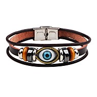 Men's Leather Bracelet Evil Eye Punk Stainless Steel Bracelet Jewelry Brown For Stage Street