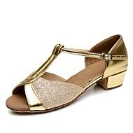 Women's Dance Shoes Customized Materials Latin Shoes Heel Low Heel Customizable Silver / Red / Blue / Indoor / EU39
