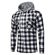 Men's Plaid Print Shirt Active Street chic Daily Going out Hooded Black / Red / Fall / Winter / Long Sleeve