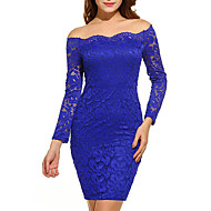 Women's Off Shoulder Party Going out Sexy Mini Bodycon Dress - Solid Colored Dusty Rose, Lace Off Shoulder Spring Purple Wine Royal Blue XL XXL XXXL / Slim