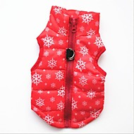 Cat Dog Vest Winter Dog Clothes Black Red Costume Cotton Snowflake Casual / Daily Keep Warm Christmas S M L