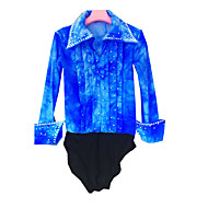 21Grams Figure Skating Top Men's Boys' Ice Skating Shirt Azure Spandex High Elasticity Competition Skating Wear Handmade Solid Colored Long Sleeve Ice Skating Figure Skating