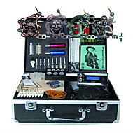 BaseKey Professionell Tattoo Kit Tattoo Machine - 4 pcs Tatueringsmaskiner, Professionell Legering 20 W LED strömförsörjning 4 x legering tatuering maskin för lining och skuggning / Fodral inkluderat