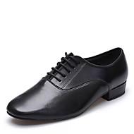 cheap -Men's Latin Shoes / Ballroom Shoes Leather Lace-up Heel Low Heel Dance Shoes Black / Indoor / EU43