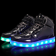 abordables -Chico LED / Confort / Zapatos con luz Cuero Patentado / Materiales Personalizados Zapatillas de deporte Niños pequeños (4-7ys) / Niños grandes (7 años +) Con Cordón / Cierre Autoadherente / LED Negro