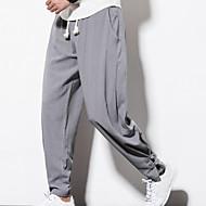 tanie -Męskie Casual Aktywny Vintage Puszysta Codzienny Weekend Luźna Len Rurki Luźna Spodnie dresowe Spodnie Solidne kolory Ściągana na sznurek Czarny Wino Jasnoszary M L XL / Wzornictwo chińskie
