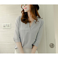 Women's Daily Going out Blouse - Solid Colored V Neck Blushing Pink / Summer