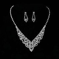 Women's Necklace Earrings Jewelry Silver For Wedding Party Engagement