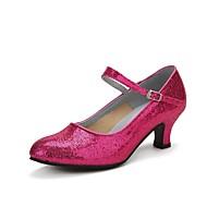 Women's Modern Shoes Heel Cuban Heel Sparkling Glitter Paillette Sparkling Glitter Buckle Black / Red / Fuchsia / Professional / EU41