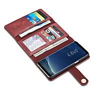 Etui Til Samsung Galaxy S8 Plus / S8 / S7 edge Lommebok / Kortholder / Flipp Heldekkende etui Helfarge Hard ekte lær
