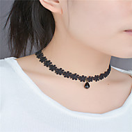 Women's Choker Necklace Flower Flower Teardrop Acrylic Diamond Fashion Euramerican Lace Acrylic Black Necklace Jewelry For Party Special Occasion Birthday Engagement Daily Casual