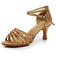 Women's Dance Shoes Silk Latin Shoes Heel Customized Heel Customizable Brown / Nude / Indoor