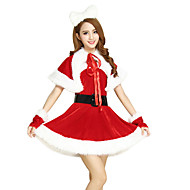 Mrs.Claus Dress Santa Clothes Women's Christmas Festival / Holiday Terylene Red Women's Carnival Costumes Patchwork / Belt / Headpiece / Cloak / Headpiece / Belt