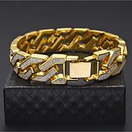 billiga -Herr Kedje & Länk Armband Kubansk länk Tvåfärgad Manschett Lyx Rock Hiphop Streetchic Dubai Guldpläterad Armband Smycken Guld / Silver Till Casual Nattklubb