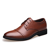 Men's Formal Shoes Microfiber Spring / Fall Business Oxfords Walking Shoes Black / Brown / Wedding / Party & Evening / Rivet / Split Joint / Party & Evening