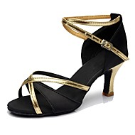Women's Dance Shoes Silk Latin Shoes / Salsa Shoes Heel High Heel Customizable Black / Practice / EU39
