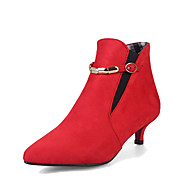 Women's Boots Kitten Heel Pointed Toe Buckle Leatherette Booties / Ankle Boots Comfort Walking Shoes Fall / Winter Gray / Red / Green / EU42