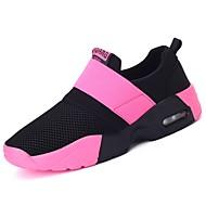 ราคาถูก -สำหรับผู้หญิง รองเท้ากีฬา ส้นแบน ปลายกลม ผูกริบบิ้น ยาง รองเท้าบู้ทหุ้มข้อ ความสะดวกสบาย วสำหรับเดิน ฤดูใบไม้ผลิ / ตก สีดำ / ฟ้า / สีชมพู / ลายบล็อคสี