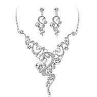Women's Diamond Cubic Zirconia tiny diamond Jewelry Set Geometrical Flower Ladies Elegant Zircon Silver Plated Earrings Jewelry Silver For Wedding Evening Party