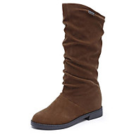 povoljno -Žene Čizme Niska potpetica Nubuk koža Čizme do pola lista Čizme za snijeg Zima Crn / Braon / Lila-roza / EU39